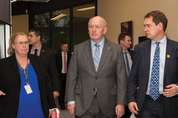 Then Governor General Peter Cosgrove and Chair of the Board, Andrew Moffat with Jennifer Smith